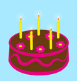 chocolate cake with five candles vector image