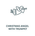 christmas angel with trumpet line icon vector image vector image