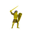 close-up of knight stands in yellow armor raises vector image vector image