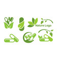 collection ecology green madical nature symbol vector image