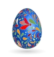 Colorful easter blue egg with ornate doodle floral vector image