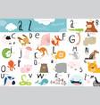 cute animal alphabet table vector image