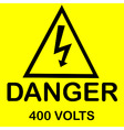 danger 400 volts vector image