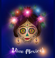 day of the dead skull in traditional mexican style vector image vector image