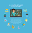 distance education learning the student listens vector image vector image