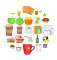 eating icons set cartoon style vector image vector image