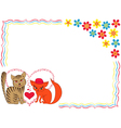 Enamoured cat and kitty on Valentine greeting card vector image