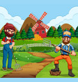 farmer working in farm vector image