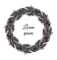 feather wreath hand drawn in boho vector image vector image