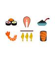 fish food icon set flat style vector image