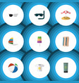 flat icon beach set of clothes surfing sphere vector image vector image