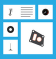 flat icon parts set of conrod tachometr gasket vector image vector image