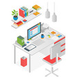 flat isometric workspace worl place concept vector image vector image