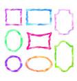 frame set different shape grunge watercolor border vector image