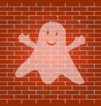 ghost sign whitish icon on brick wall as vector image vector image