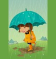girl with umbrella and raincoat playing in the mud vector image