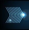 glowing blue neon arrows shiny design vector image vector image