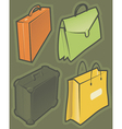 Green icons with bags vector image