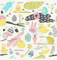 happy easter seamless pattern with eggs bunny vector image vector image