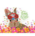happy easter with rabbit flower and butterflies vector image vector image