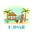 hawaii resort with beach and palms ocean vector image