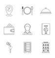 Hostel icons set outline style vector image vector image