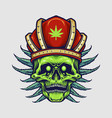 king red crown skull weed leaves vector image vector image
