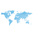 light blue grungy map of the world - continents vector image