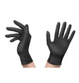 nitrile gloves on hand front or side view isolated vector image