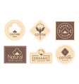 organic cotton label set mark vector image vector image