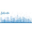Outline Jakarta skyline with blue landmarks vector image vector image