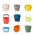 plastic and metal buckets set red container vector image vector image