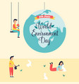 poster world environment day with globe and people vector image