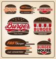 set burger shop icon logo design for branding vector image vector image