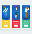 set of banners with pilots and stewardess in vector image vector image