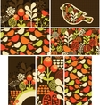 Set of cards with birds and flowers vector image vector image