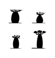 set of four hand drawing black baobabs vector image vector image