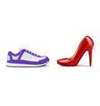 sneakers vs heels realistic composition vector image