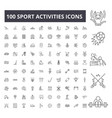 sport activities editable line icons 100 vector image
