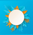 tropical summer banner - paper art vector image