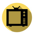 tv sign flat black icon with vector image vector image