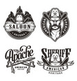 vintage wild west labels set vector image vector image
