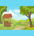 wooden water well in forest vector image