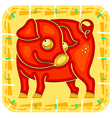 year pig chinese horoscope animal sign vector image vector image