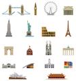 landmark icon set vector image