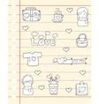 Love design papaer of doodles vector image