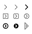 Arrow icon set in thin line and filled
