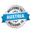 Austria 3d silver badge with blue ribbon vector image vector image