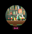 bar and girl bartender round banner