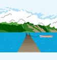 beautiful lake landscape with wooden bridge boat vector image vector image